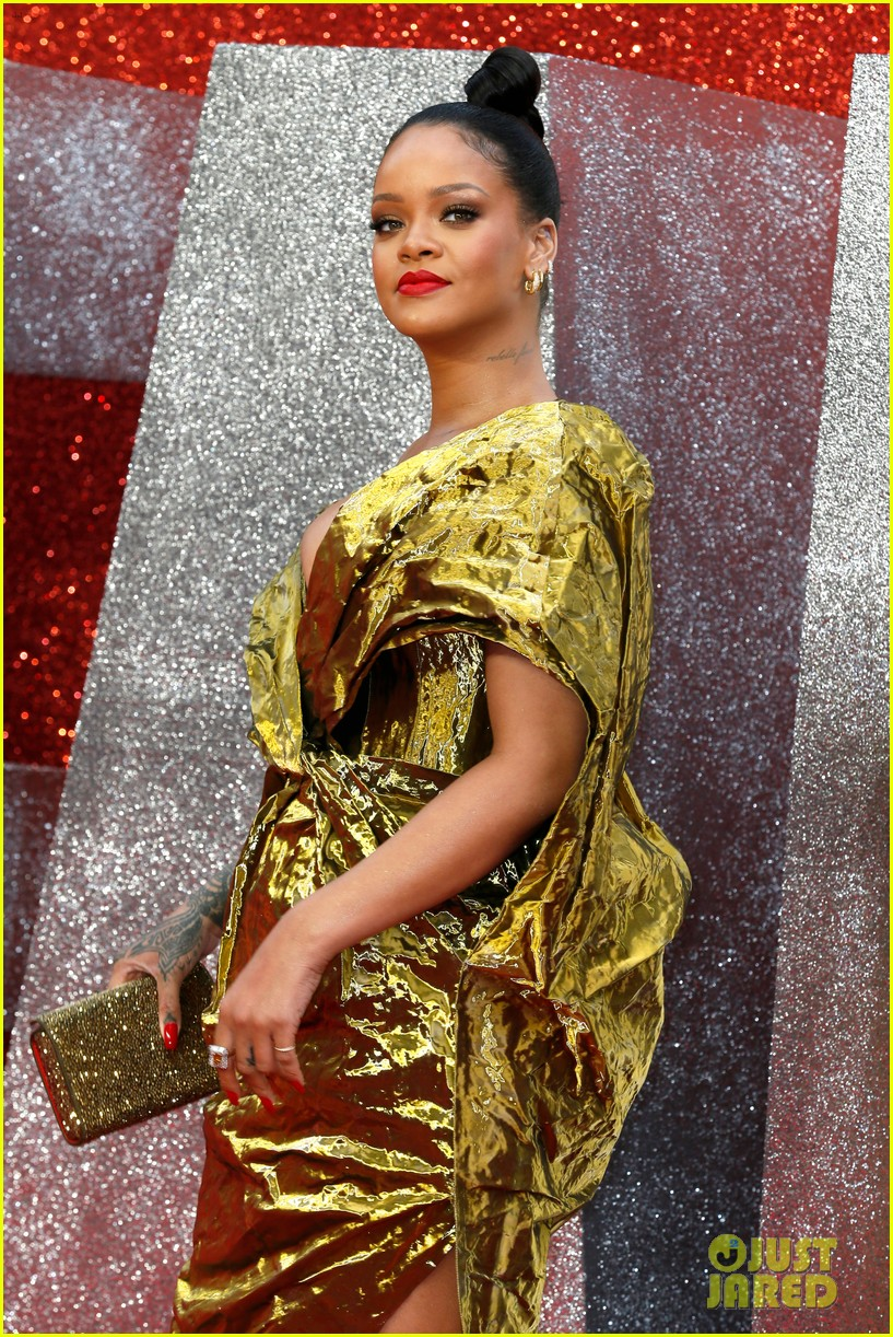 rihanna sparkles in gold at oceans 8 london premiere 154100925