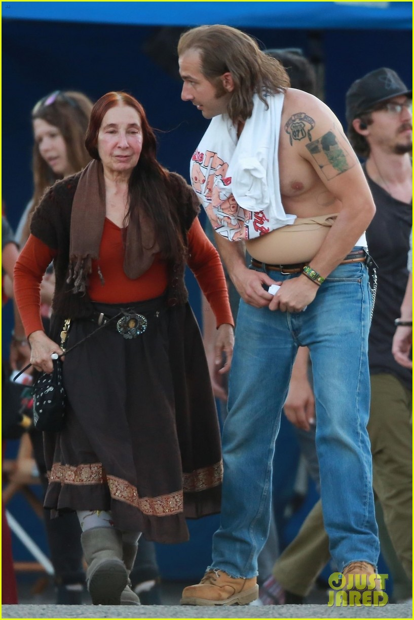 shia labeouf wears costume piece on stomach honey boy 024101386