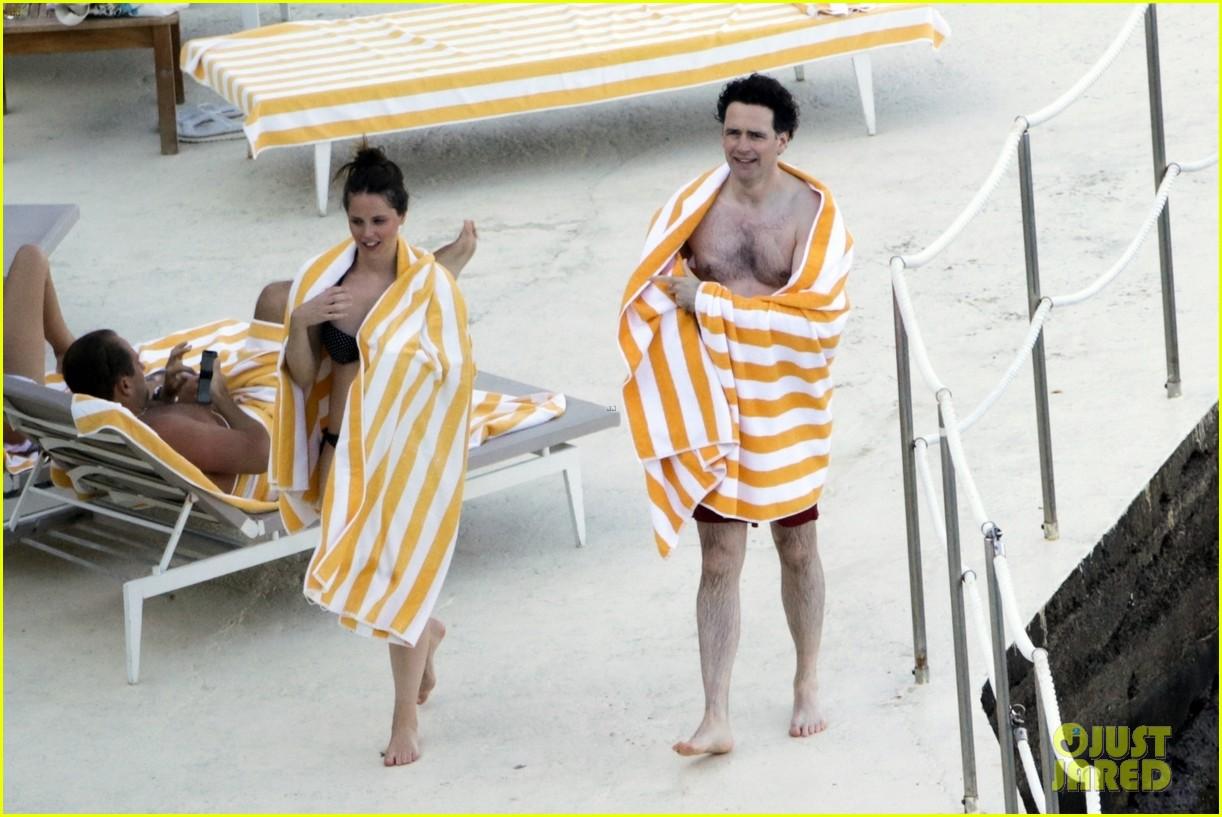 felicity jones charles guard hit the beach honeymoon 364114122