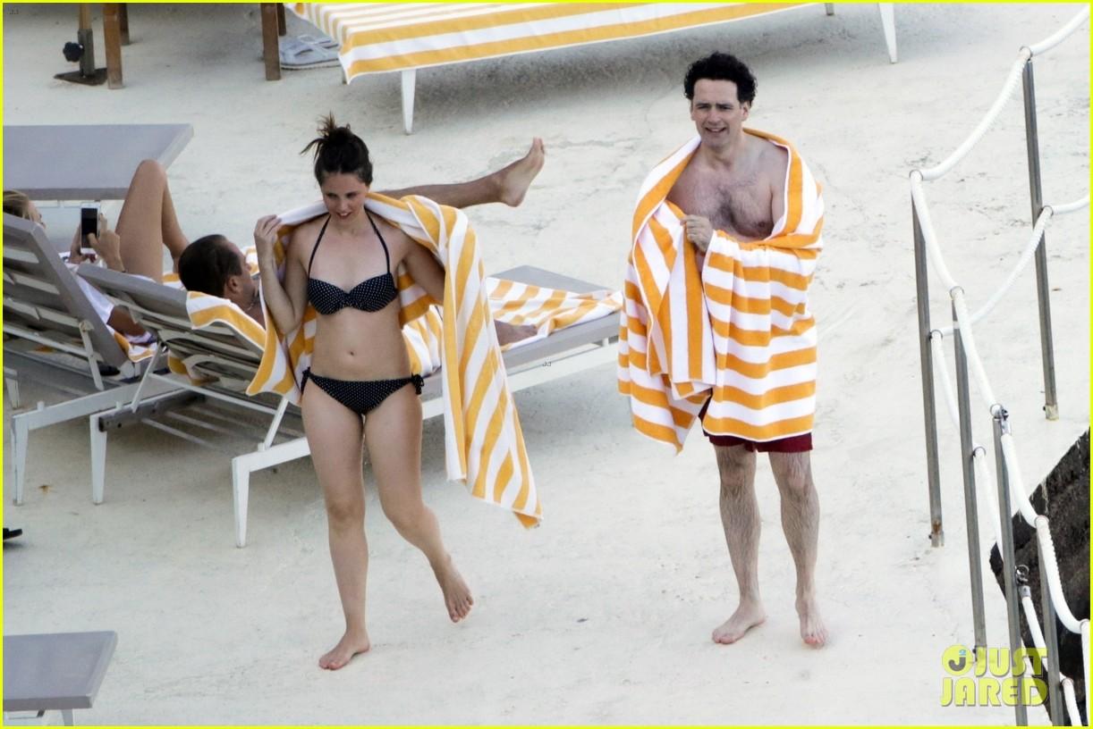 Felicity Jones & Husband Charles Guard Hit the Beach