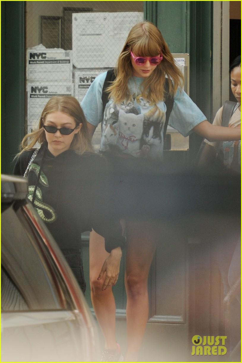taylor swift and gigi hadid wear animal prints while out in nyc 084114035