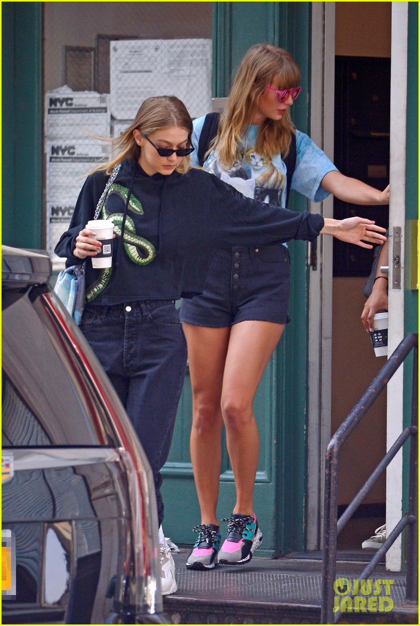 taylor swift and gigi hadid wear animal prints while out in nyc 094114036