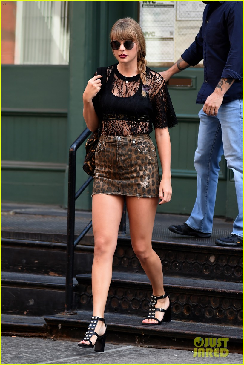 Taylor Swift Pairs Leopard Print Miniskirt With Lace Top Ahead Of First  U0027Reputationu0027 Stop In New Jersey