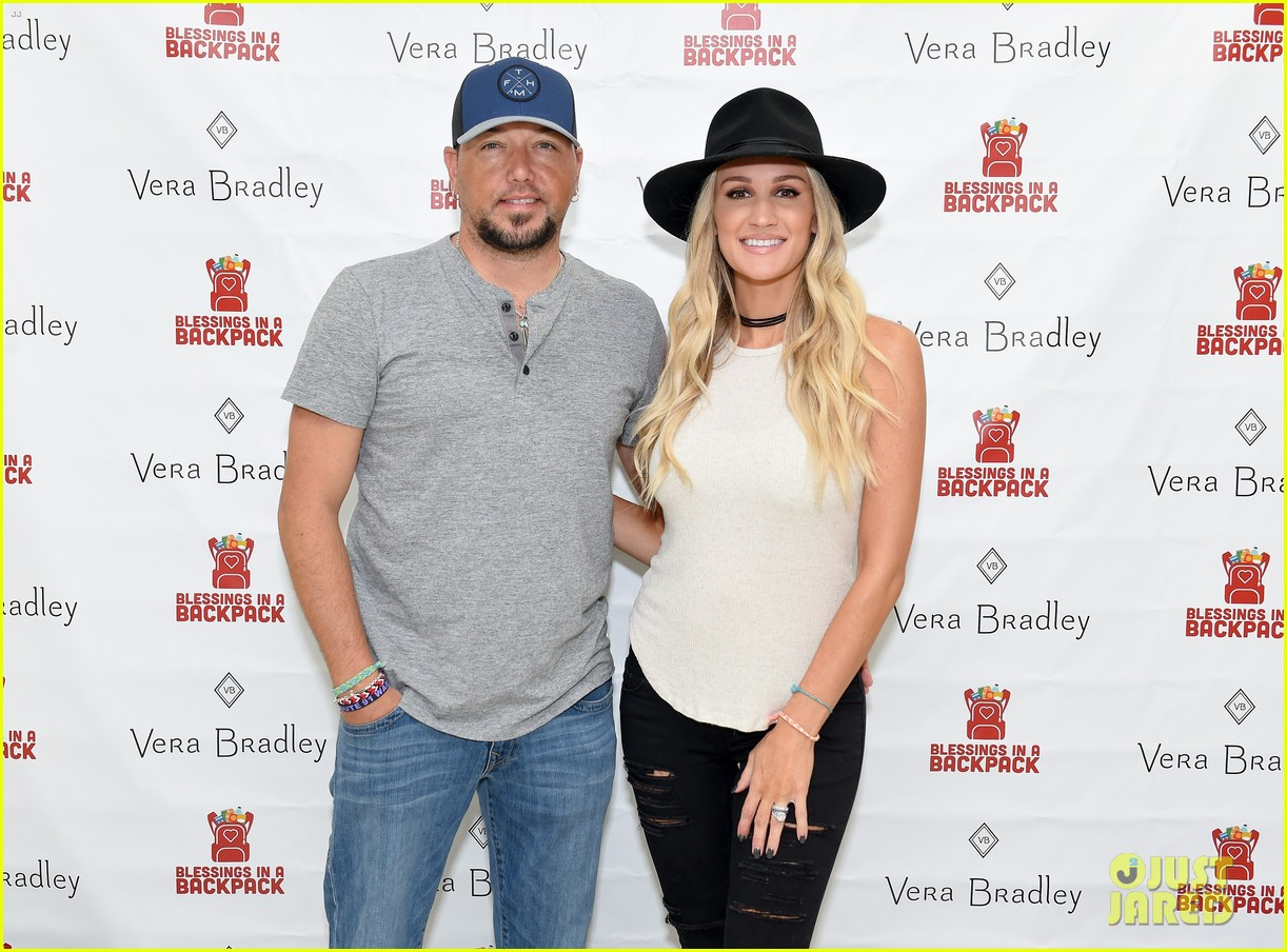 jason aldean and brittany host vera bradley x blessings in a backpack event 264135212
