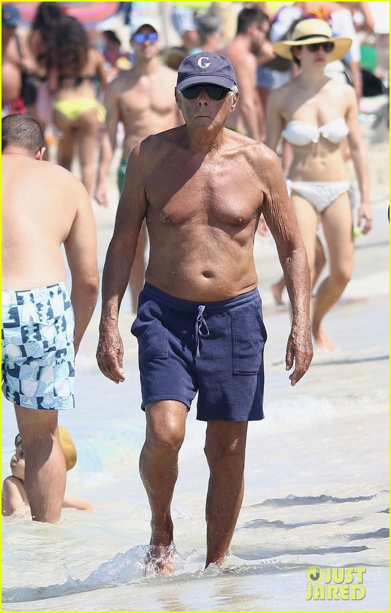 giorgio armani hits the beach in formentera in speedo 024135305