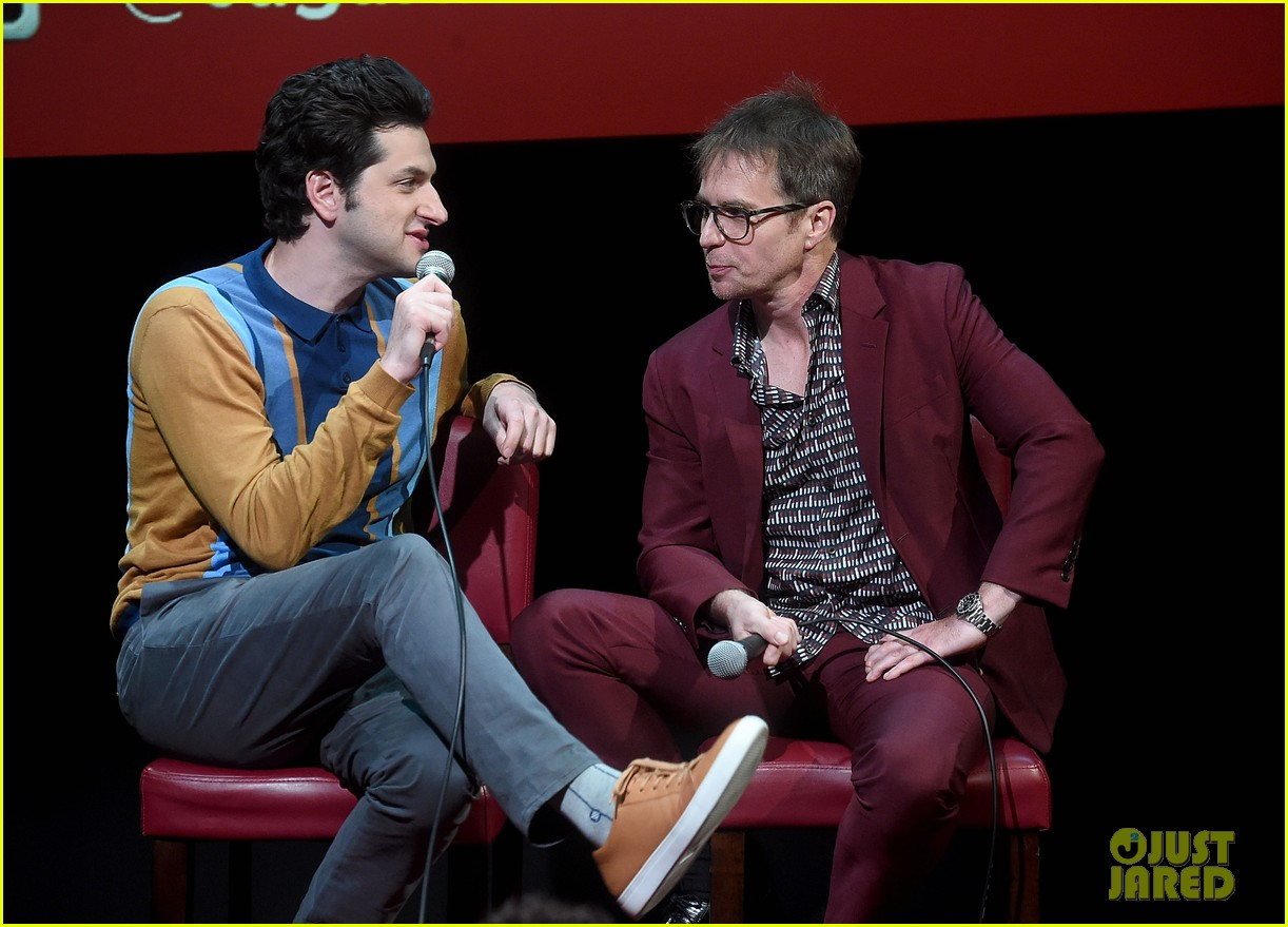 ben schwartz sam rockwell step out to promote blue iguana in nyc 034127262