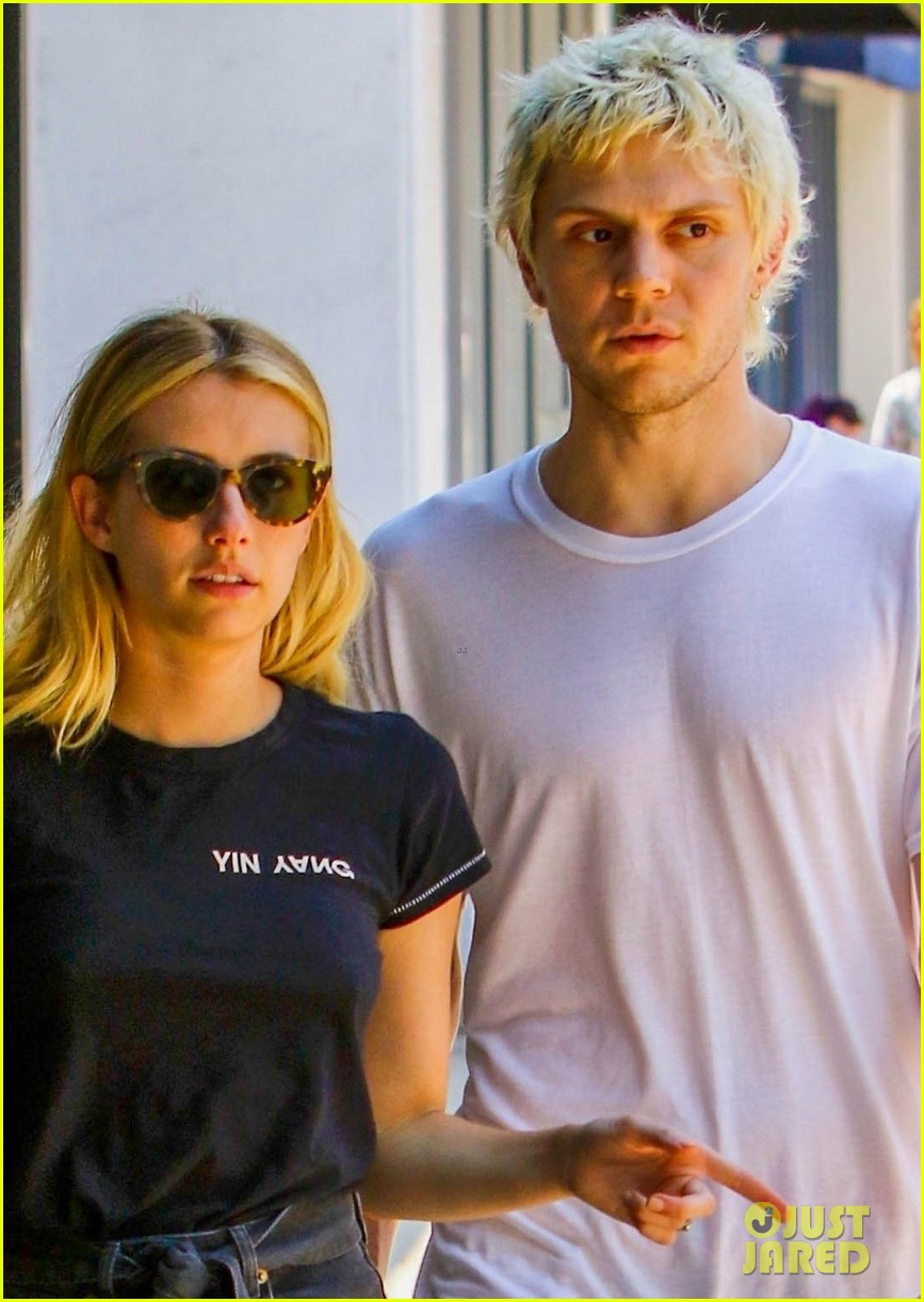 emma roberts evan peters couple up for afternoon date 034124579
