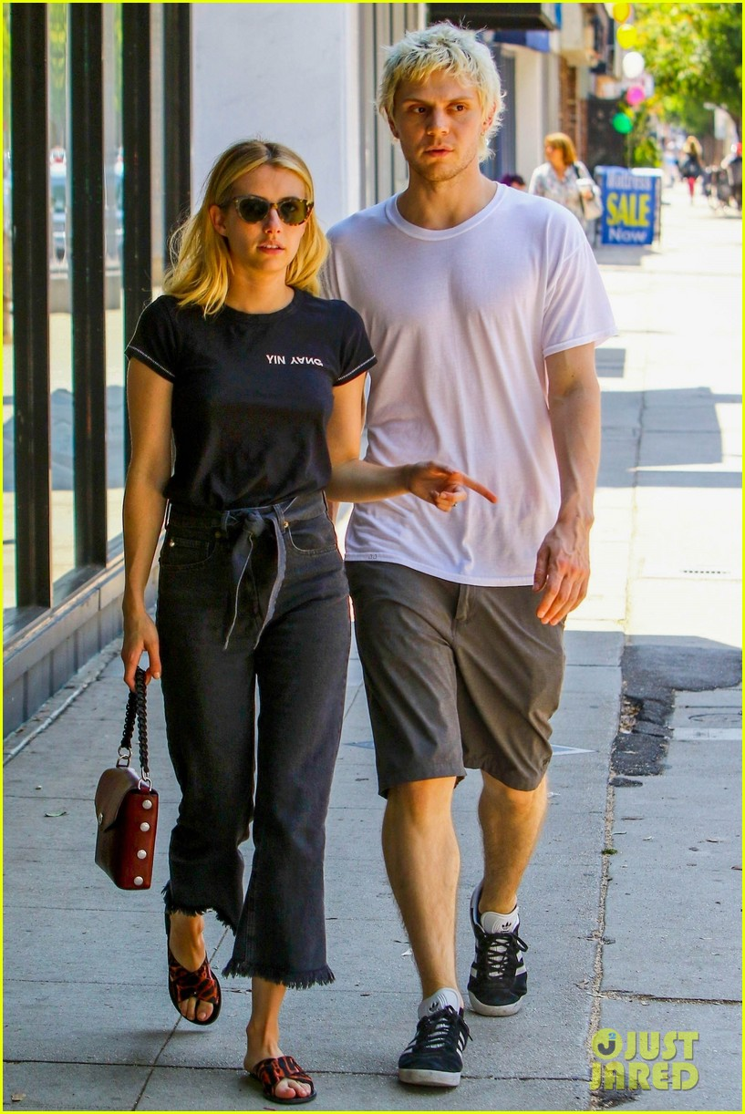 emma roberts evan peters couple up for afternoon date 074124583
