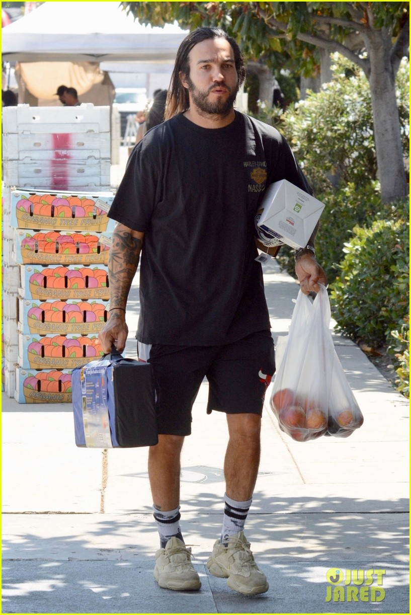pete wentz loads up on groceries at farmers market 01