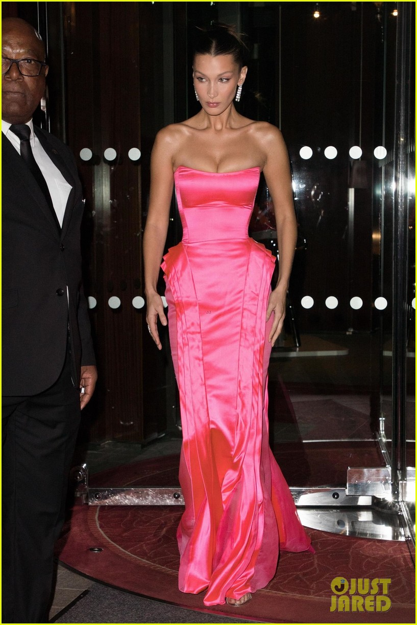 4afe56bc23b9 Bella Hadid Wows in Pink Gown While Stepping Out During Paris Fashion Week!