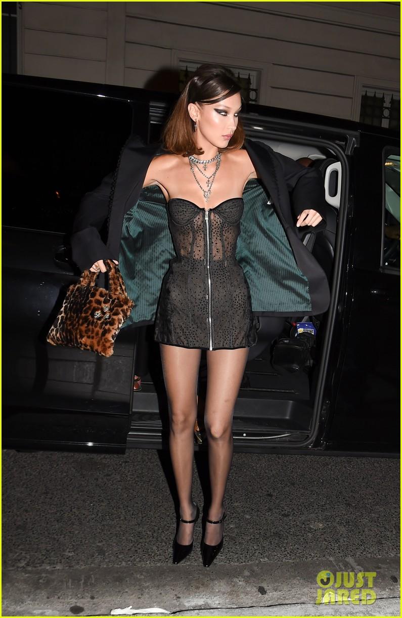 Bella Hadid Rocks A Sheer Lace Mini Dress In Paris Photo