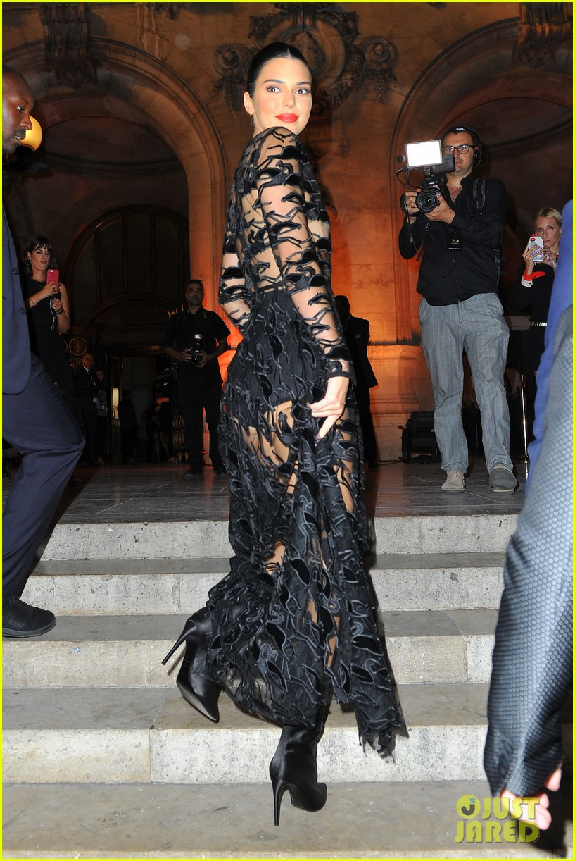 kendall jenner wears sheer dress for an event in paris 014144794