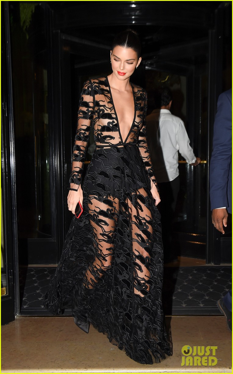 kendall jenner wears sheer dress for an event in paris 044144797