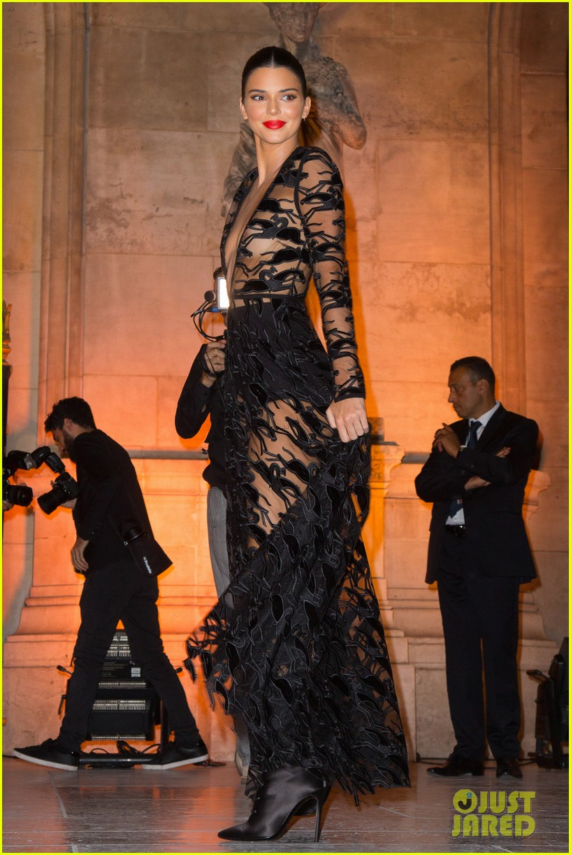 kendall jenner wears sheer dress for an event in paris 054144798