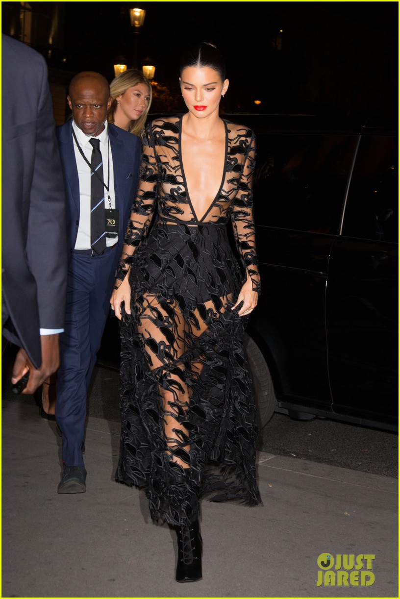 kendall jenner wears sheer dress for an event in paris 094144802