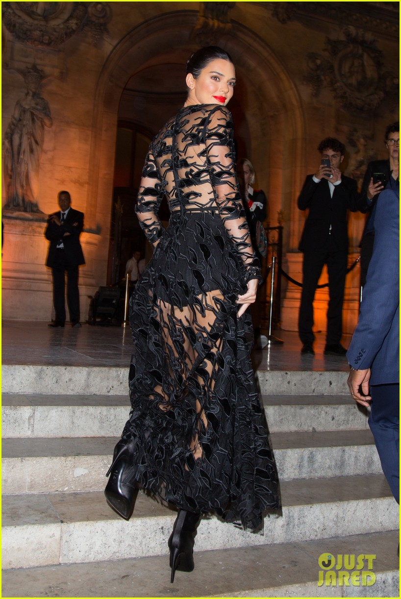 kendall jenner wears sheer dress for an event in paris 104144803