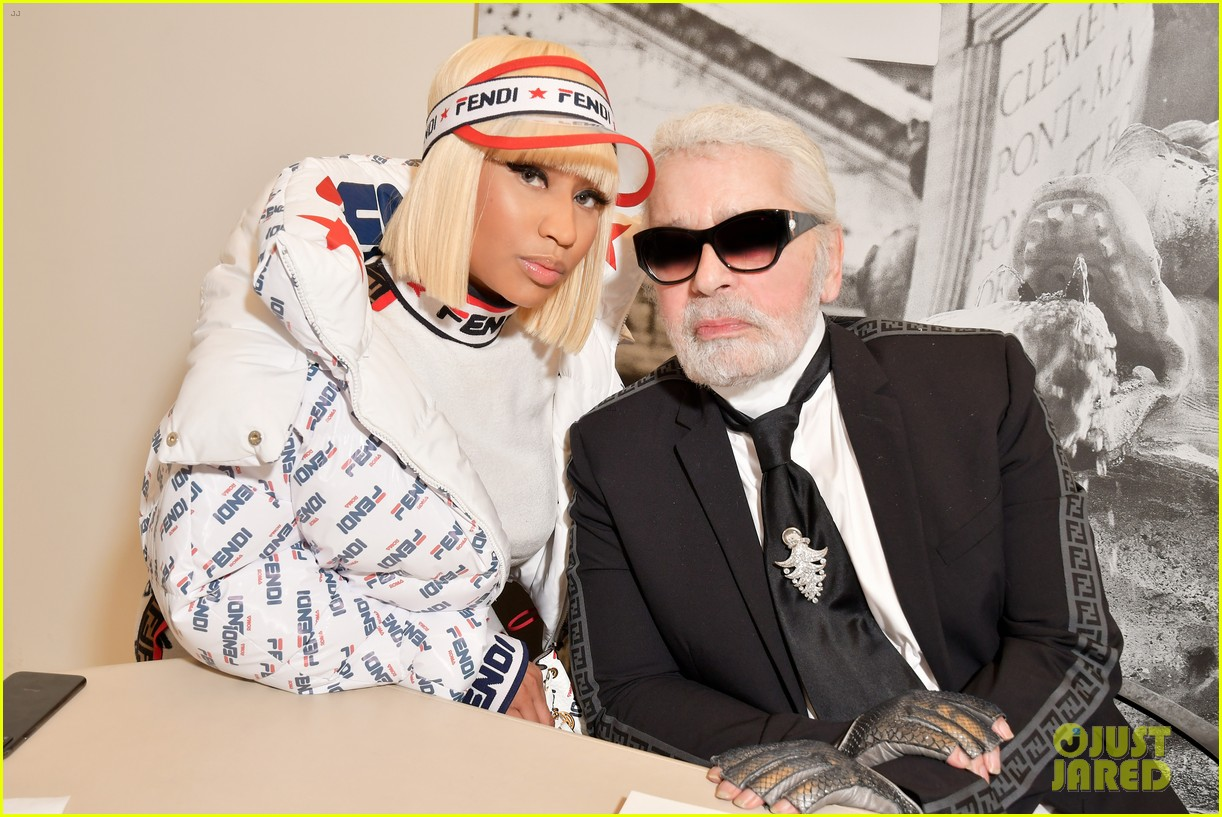 nicki minaj supports karl lagerfeld at fendi milan fashion show 044150356
