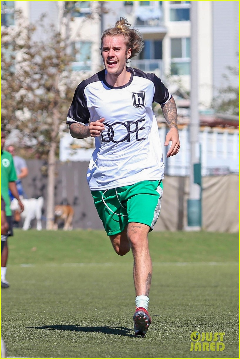 justin bieber goes shirtless playing soccer with friends 054167731