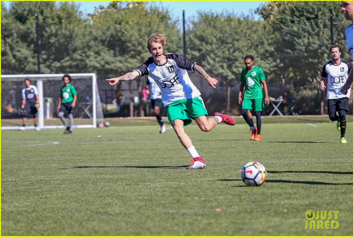 justin bieber goes shirtless playing soccer with friends 104167736