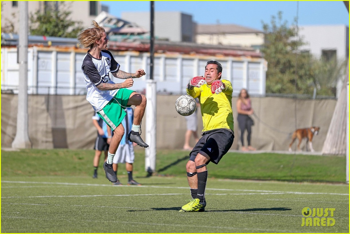 justin bieber goes shirtless playing soccer with friends 244167750