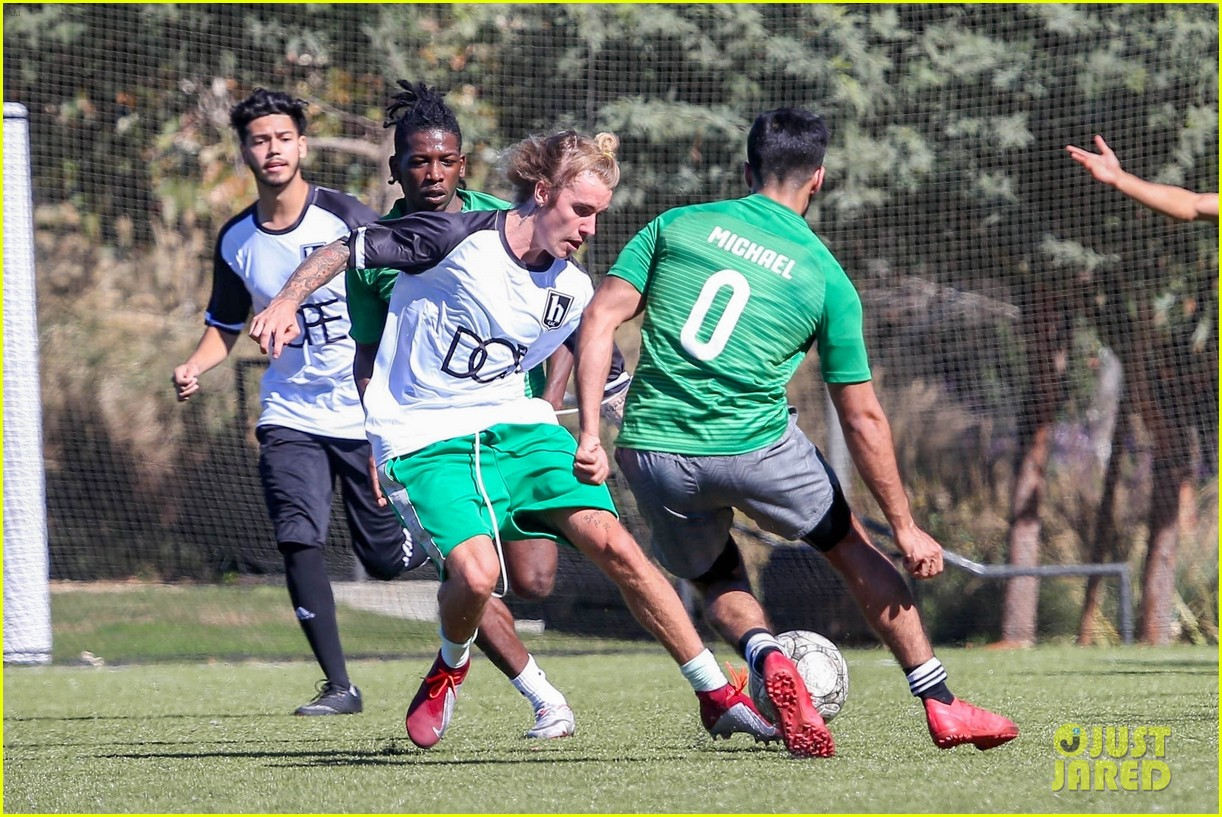 justin bieber goes shirtless playing soccer with friends 294167755