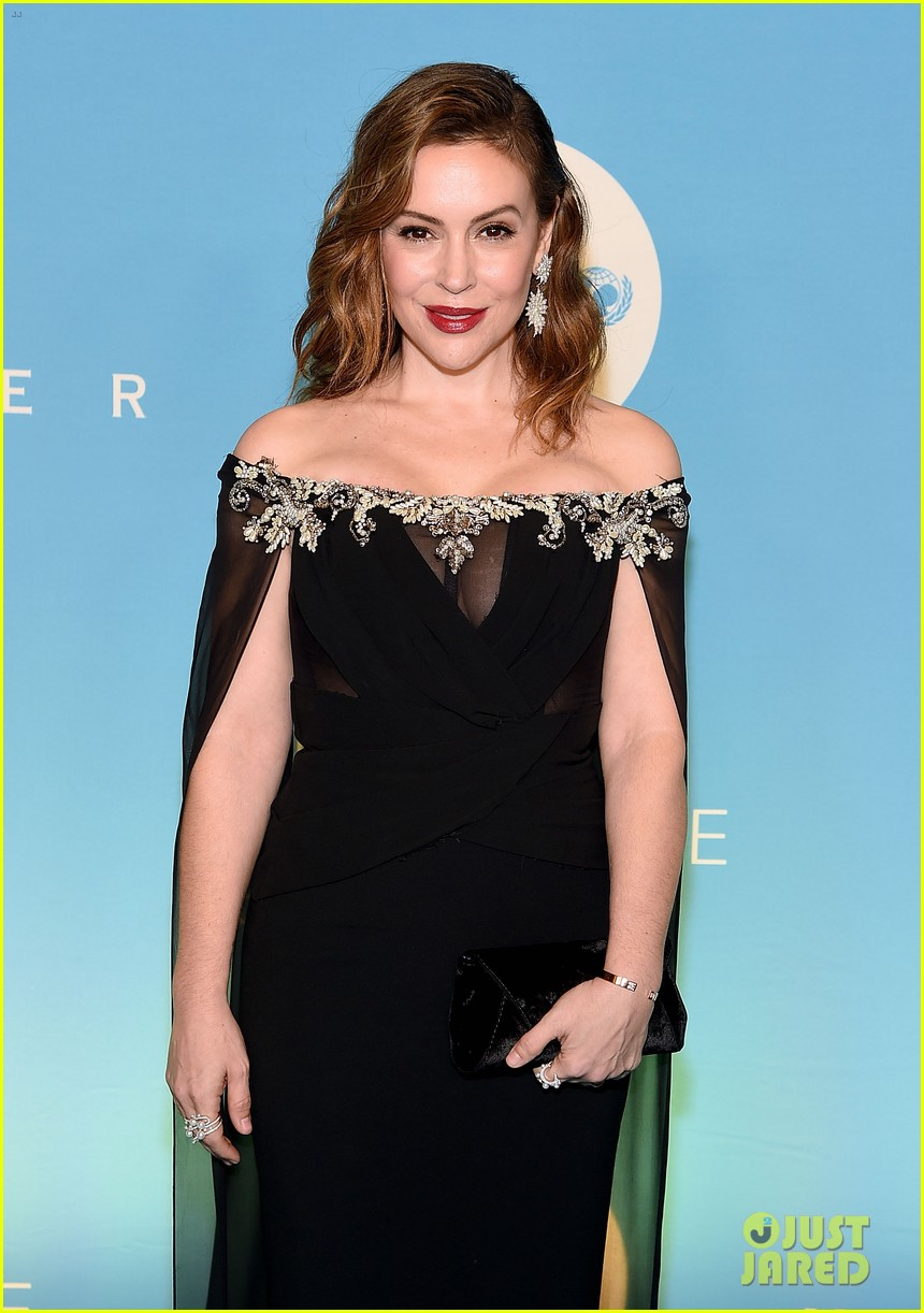alyssa milano is joined by husband dave bugliari son milo at unicef snowflake ball 104188828