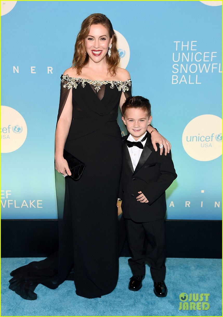 alyssa milano is joined by husband dave bugliari son milo at unicef snowflake ball 134188831