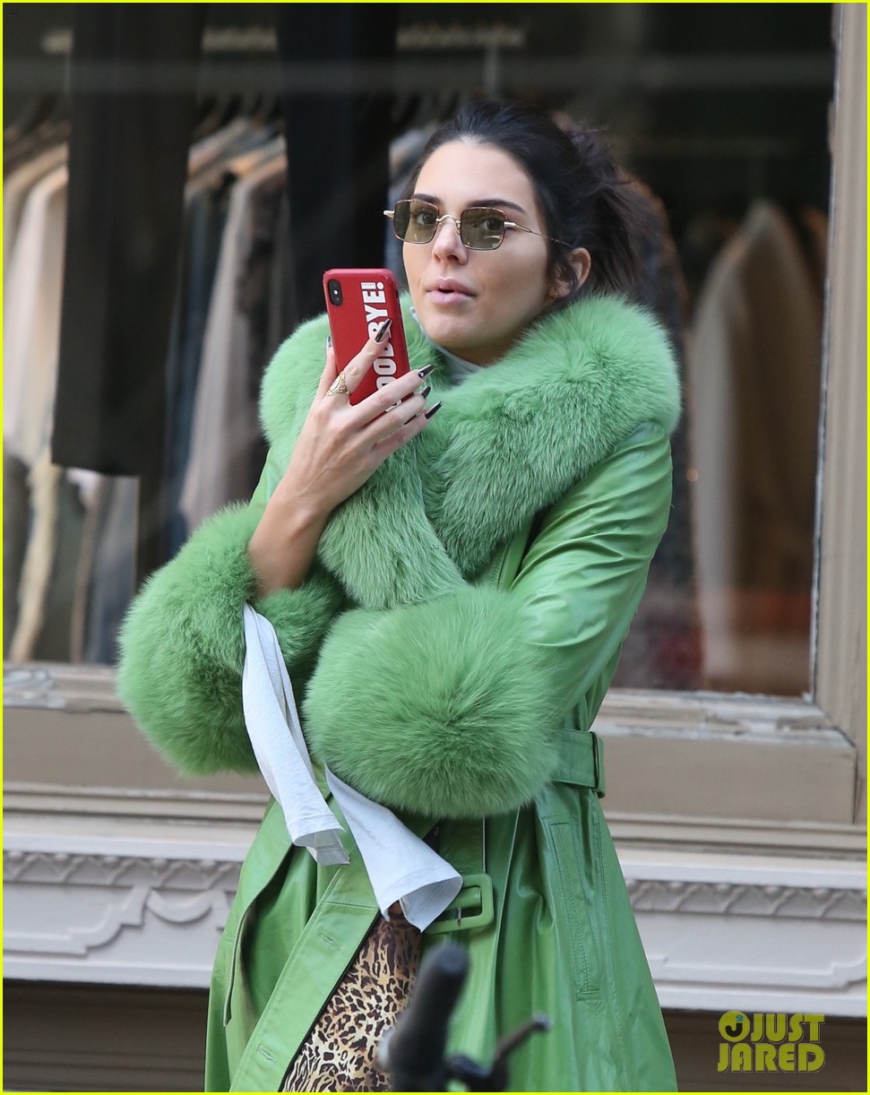 kendall jenner dons furry green coat and long nails while out on her birthday 014174938
