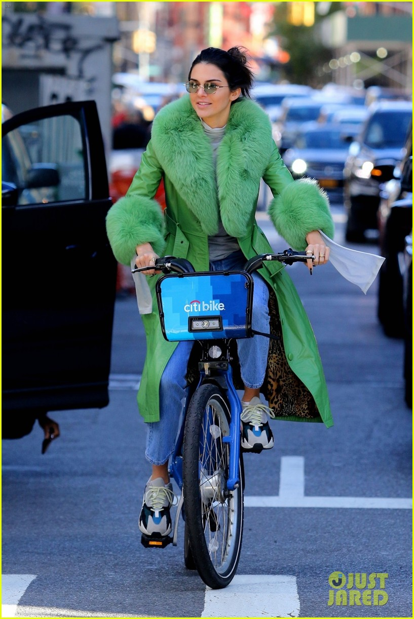 kendall jenner dons furry green coat and long nails while out on her birthday 024174939
