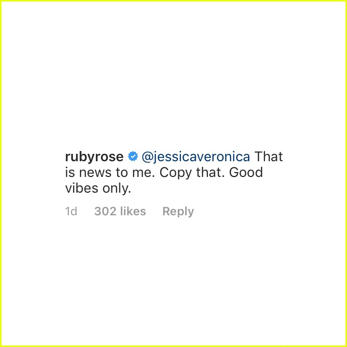 Ruby Rose's Ex Calls Her Out in Instagram Comments, She