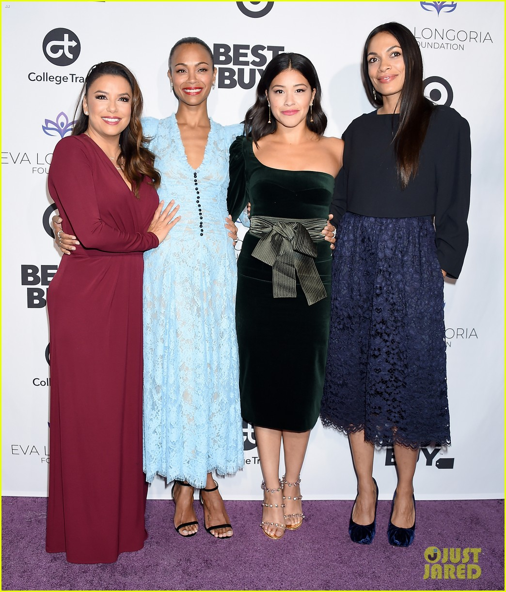 zoe saldana gets star studded support at eva longoria foundation dinner gala 014178881