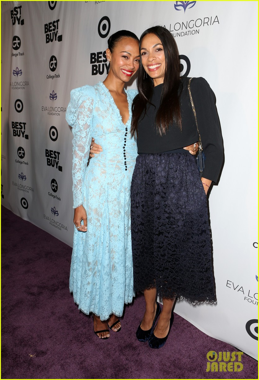 zoe saldana gets star studded support at eva longoria foundation dinner gala 484178936