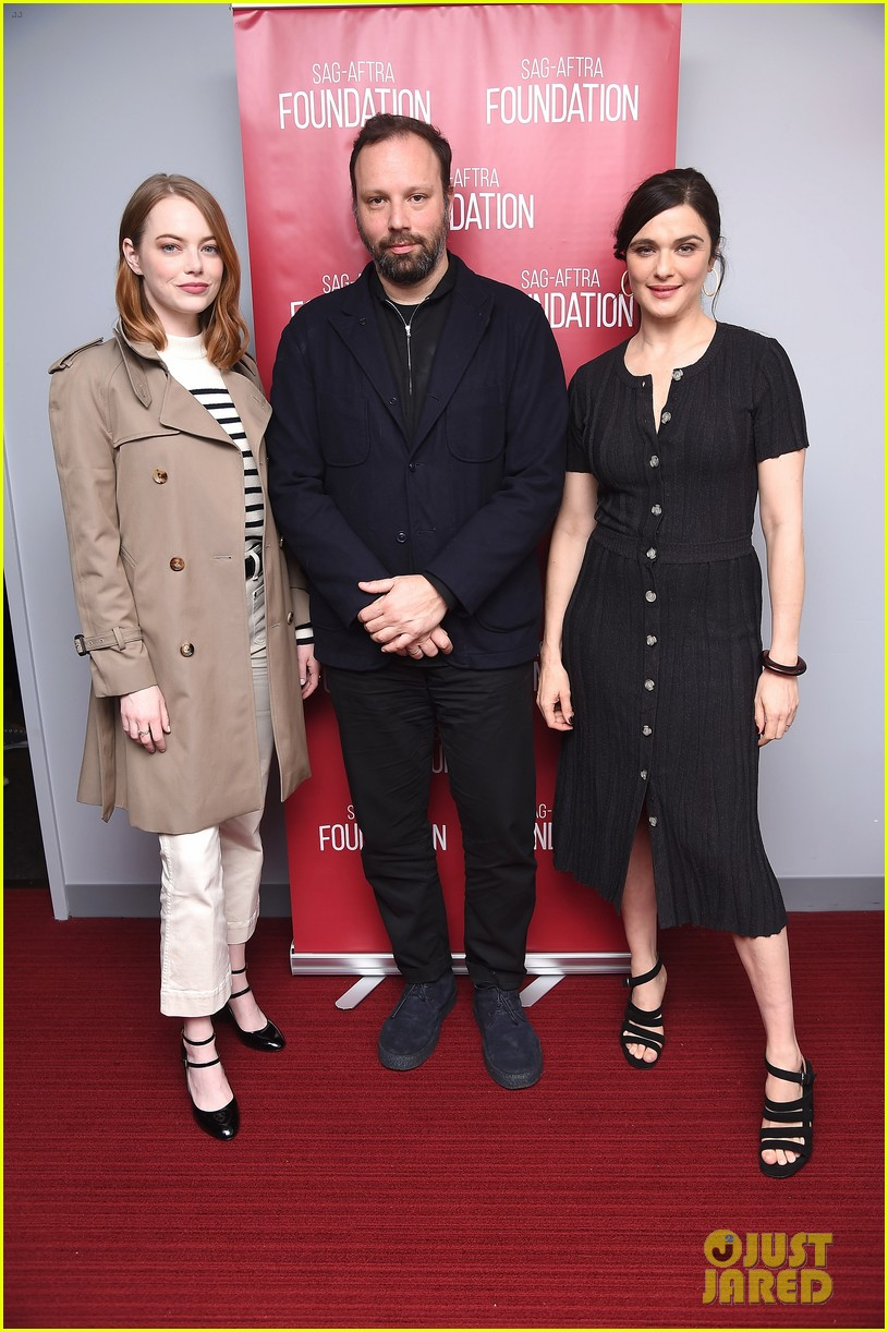emma stone rachel weisz step out for the favourite screening 03