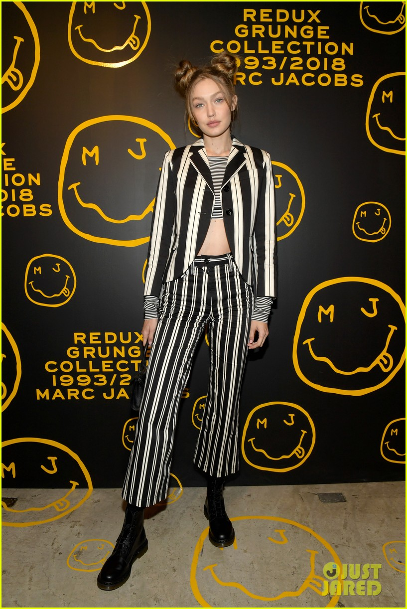 gigi hadid and kaia gerber stun in stripes at marc jacobs madison store opening 074192575