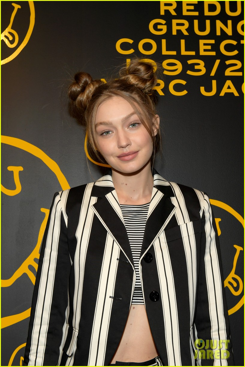 gigi hadid and kaia gerber stun in stripes at marc jacobs madison store opening 114192579