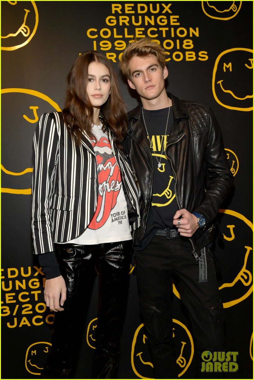 gigi hadid and kaia gerber stun in stripes at marc jacobs madison store opening 154192583