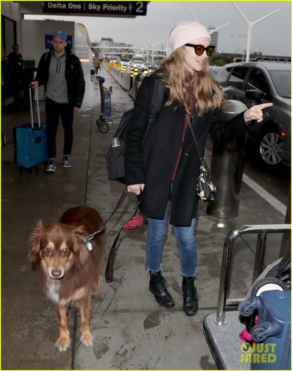 amanda seyfried travels from la to nyc with dog finn 03