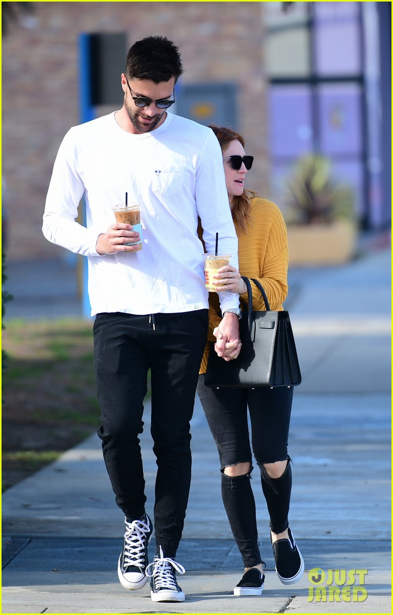 brittany snow boyfriend tyler stanaland step out for coffee 074201743