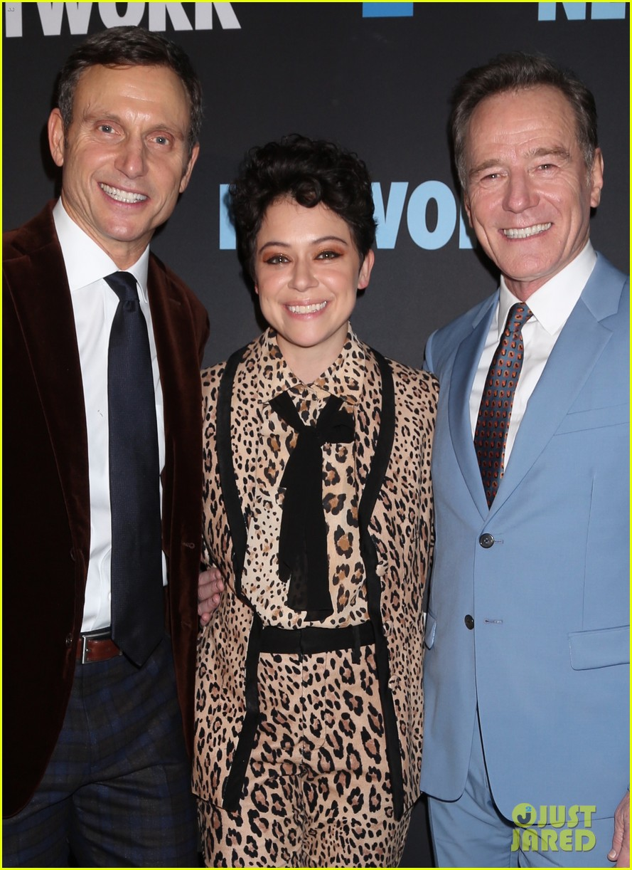 tony goldwyn tatiana maslany bryan cranston step out for opening night of network 01