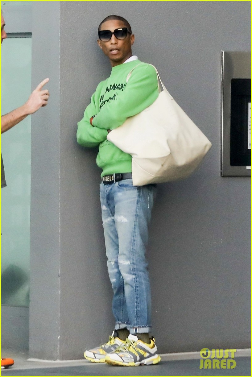pharrell williams heads to a morning meeting in beverly hills 02