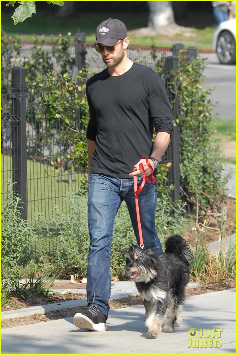 chace crawford takes his dog shiner for a walk 03