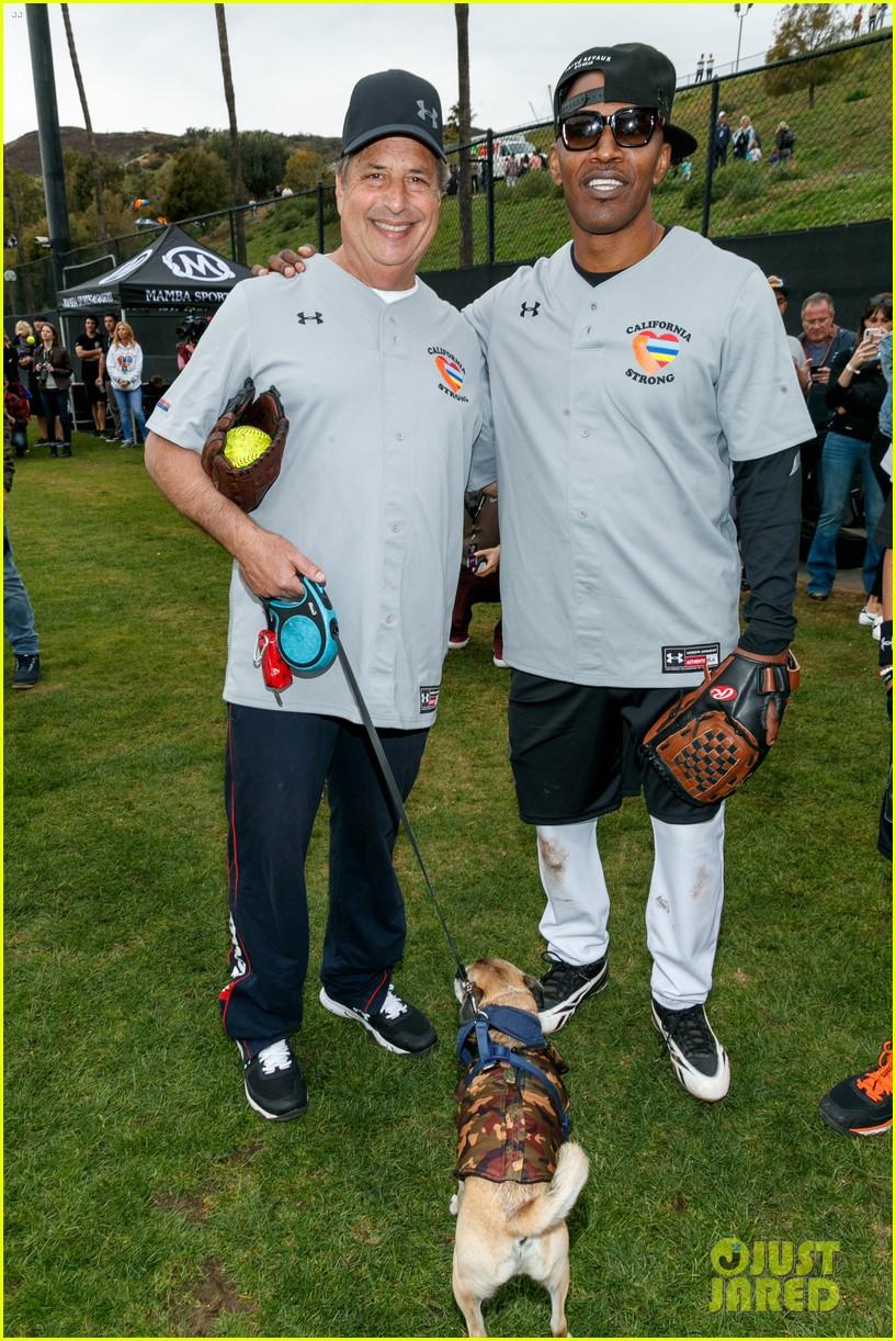 jamie foxx adam sandler zachary levi more team up for celebrity softball benefit game 15