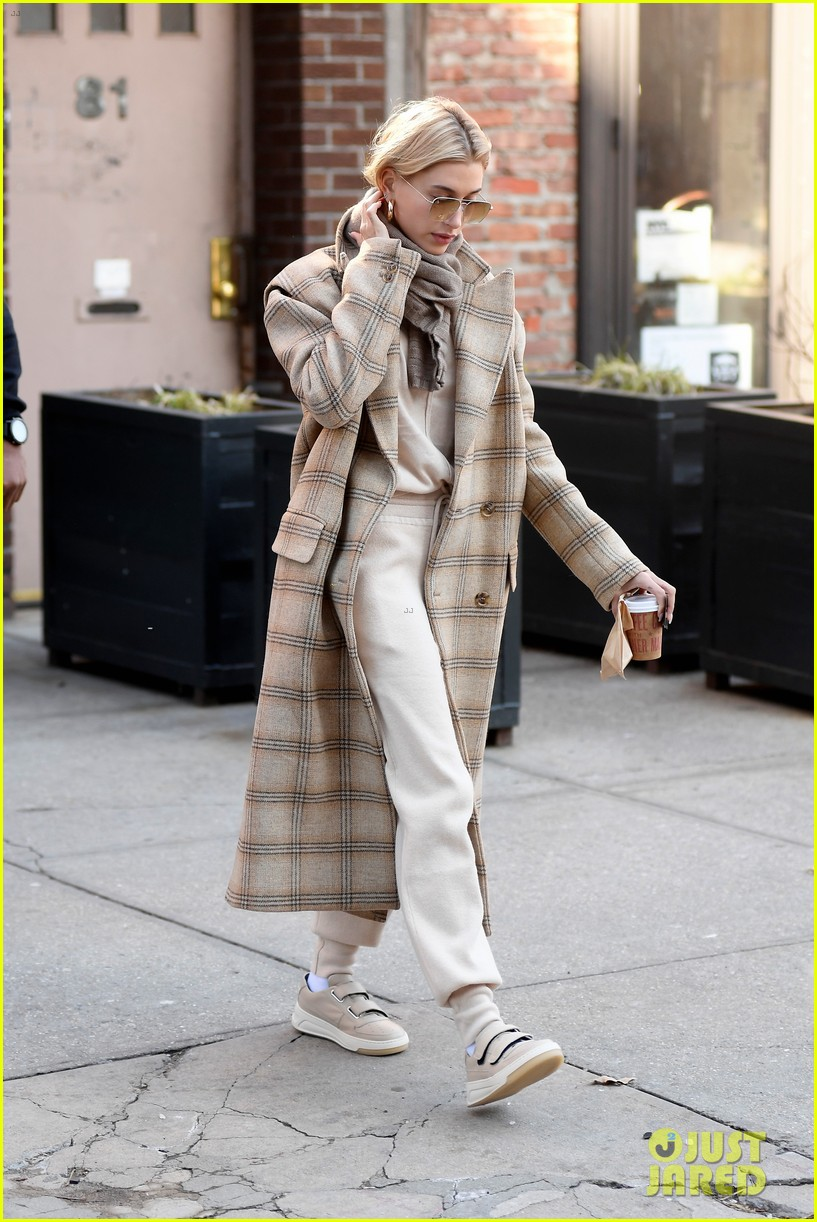 hailey bieber bundles up for morning coffee 034220528