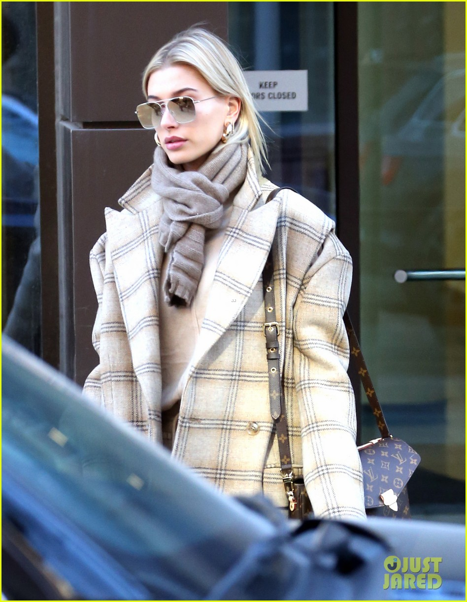 hailey bieber bundles up for morning coffee 044220529