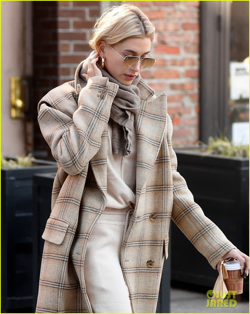 hailey bieber bundles up for morning coffee 064220531