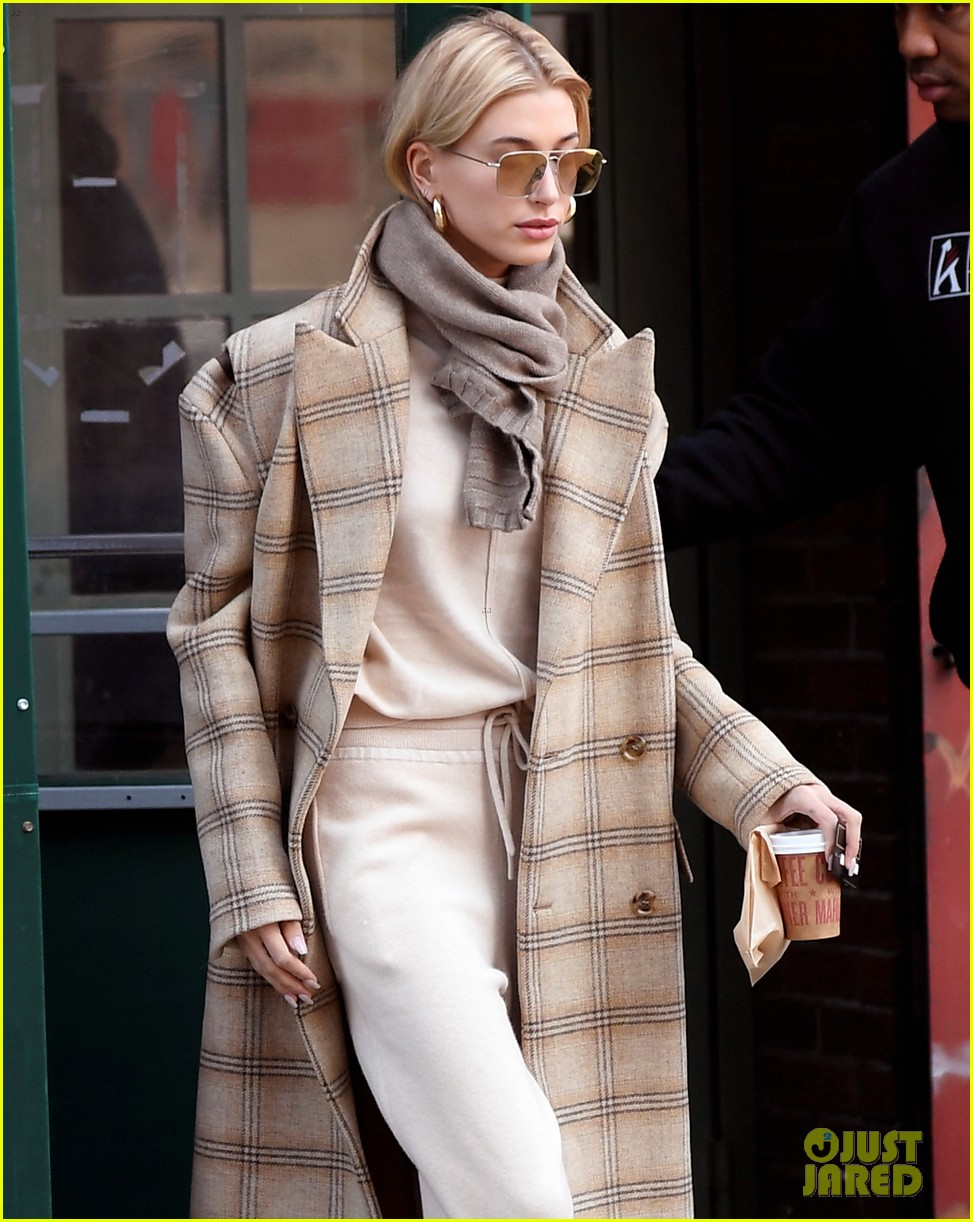 hailey bieber bundles up for morning coffee 074220532