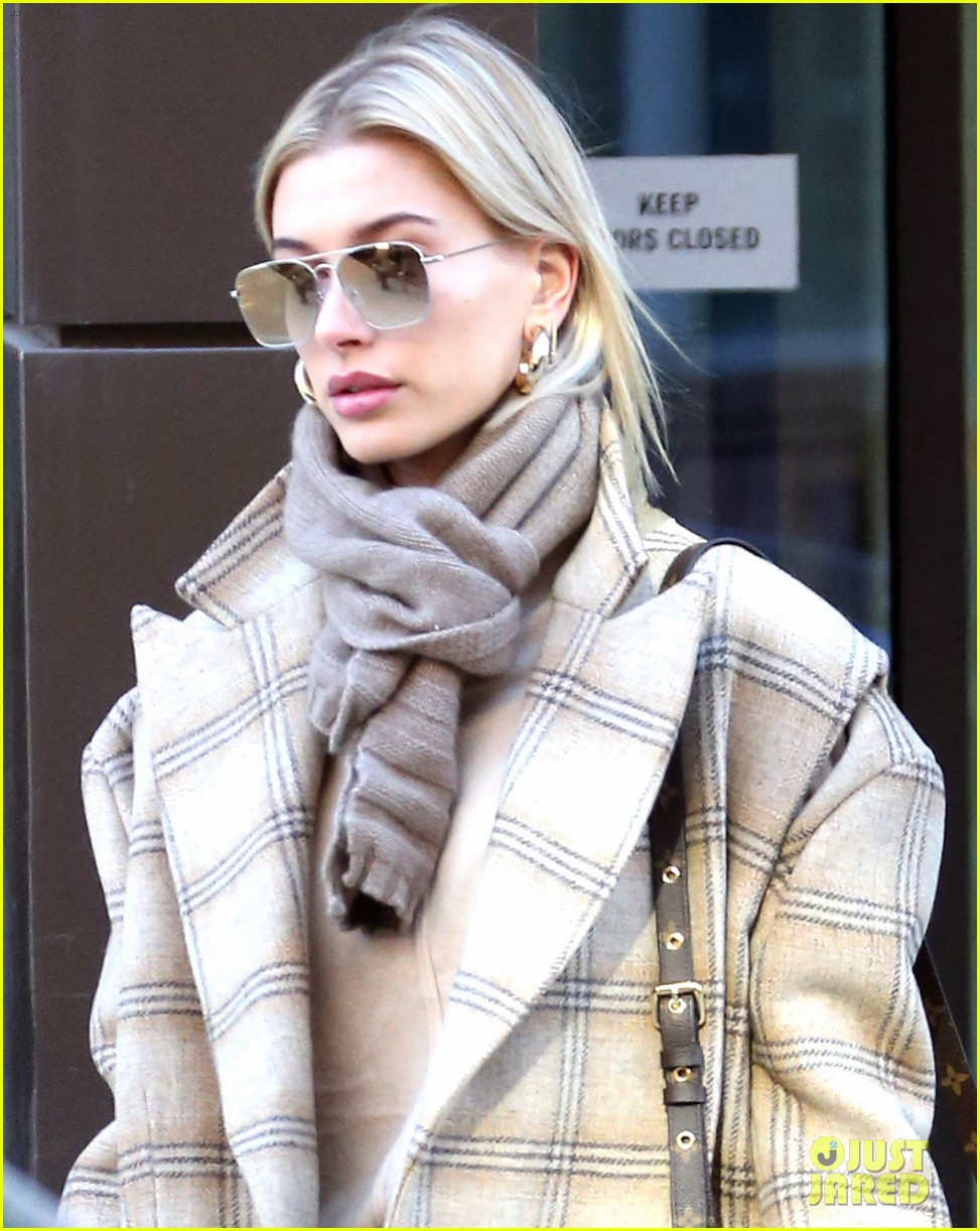 hailey bieber bundles up for morning coffee 084220533