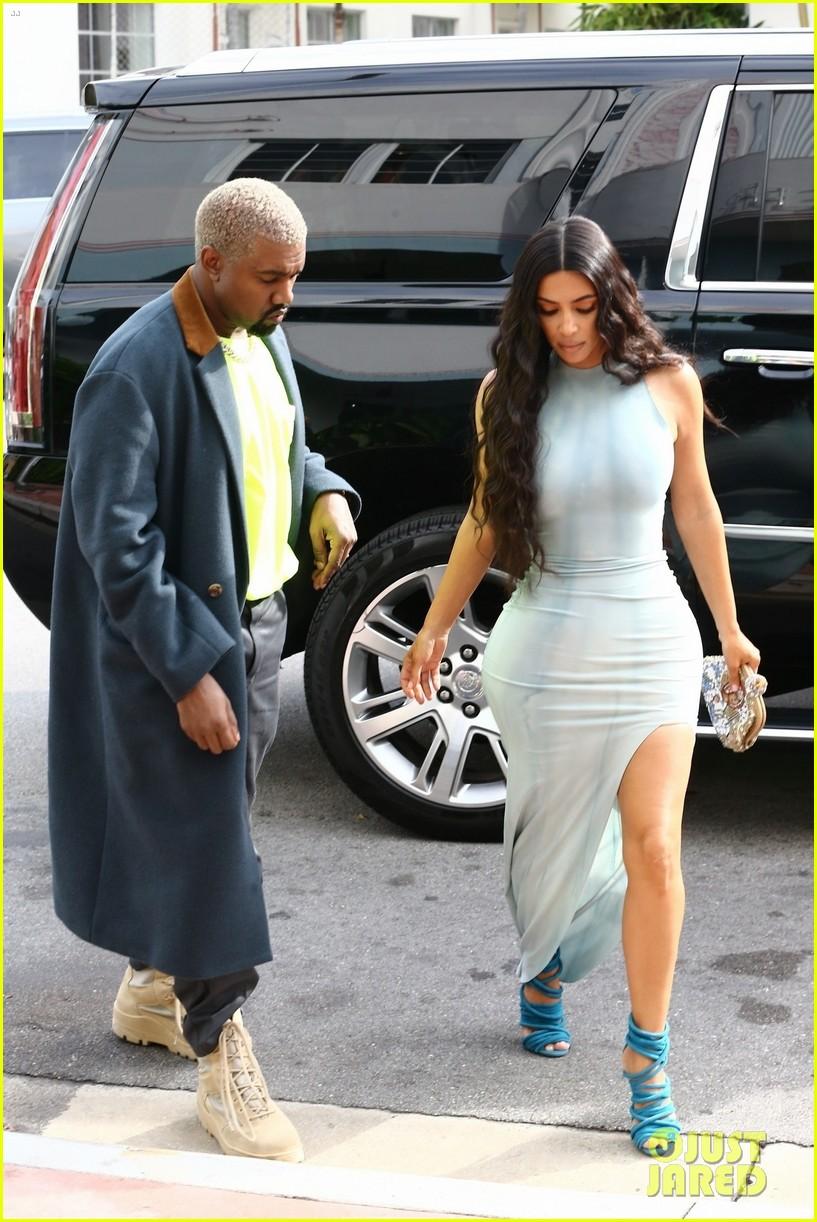 fb156a42ffdb Kim Kardashian Wears Form-Fitting Dress While Shopping with Kanye West in  Miami