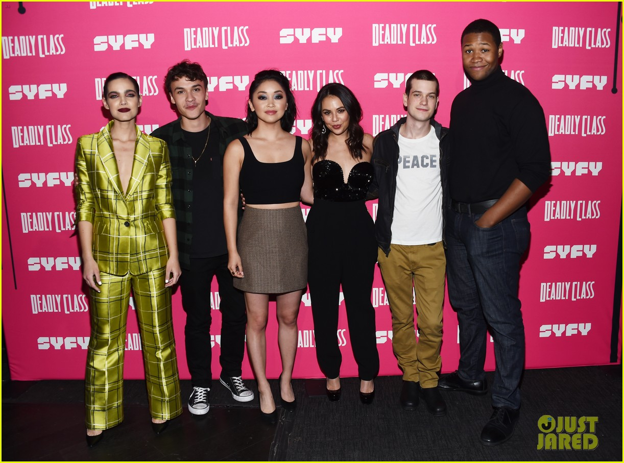 janel parrish supports lana condor at deadly class premiere 044205378
