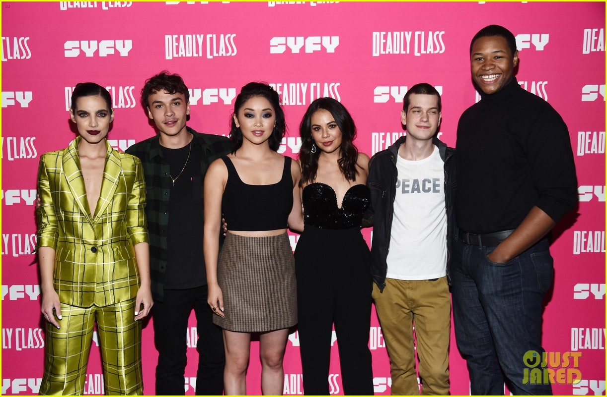 janel parrish supports lana condor at deadly class premiere 244205398